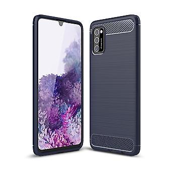 Samsung Galaxy A41 TPU Cas Fibre optique de carbone Brossé cas de protection bleu