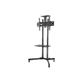Commercial Series Tilt TV Wall Mount Bracket Stand Cart with Media Shelf For TVs 32in to 70in  Max Weight 110lbs  VESA Patterns Up to 600x400  Height Adjustable  UL Certified by Monoprice