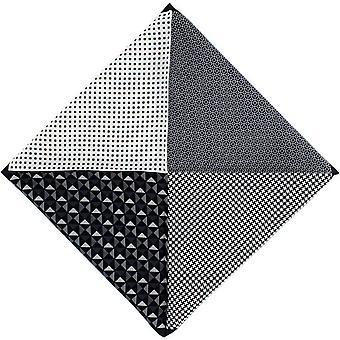 Michelsons of London 4 Pattern Silk Pocket Square - Black