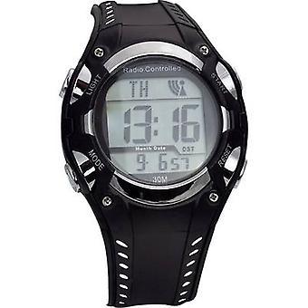 Radio Wristwatch 1681987 (Ø x H) 40 mm x 16 mm Black/silver Enclosure material=Plastic Material (watch strap)=Plastic EUROTIME