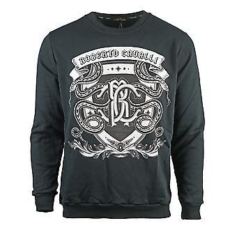 Roberto Cavalli Snake Crest Logo Svart Sweatshirt