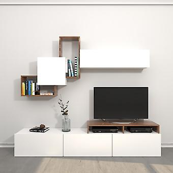 Mobile Porta TV Origami Color Bianco, Legno in Truciolare Melaminico 200x33x42 cm,186,2x22x91,5 cm