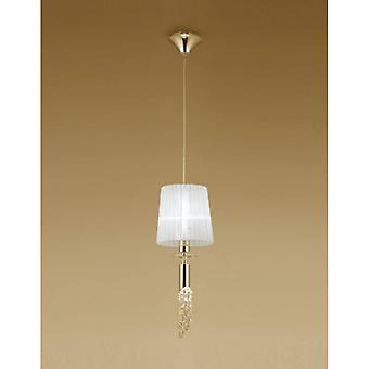 Tiffany Pendant Lamp 1 + 1 E27 + G9 Bulb, Gold With White Lampshade & Transparent Crystal