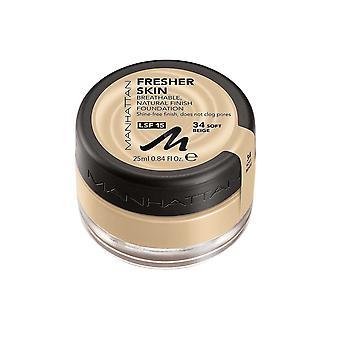 Manhattan Breathable Natural Finish Foundation 25ml Soft Beige #34 LSF15 Shine Free