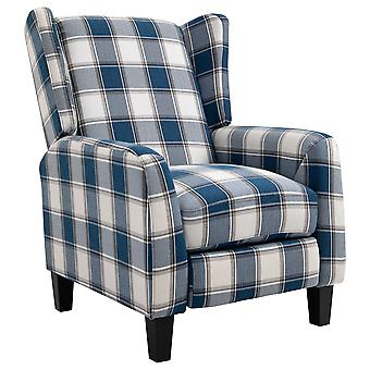 HOMCOM Plaid Reclining Armchair w/ Wood Frame Footrest Padding Ergonomic Metal Base Home Furniture Stylish Bedroom Living Room Blue