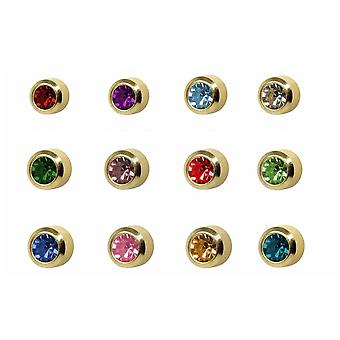 Caflon 24CT Gold Plated Assorted Birthstone Stud (12 Pack)