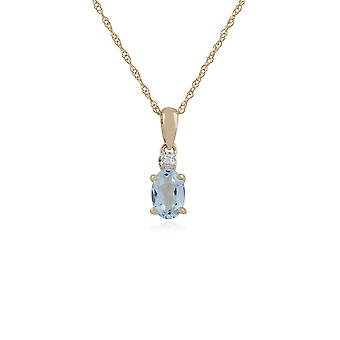 Classic Oval Aquamarine & Diamond Pendant Necklace in 9ct Yellow Gold 135P1644029
