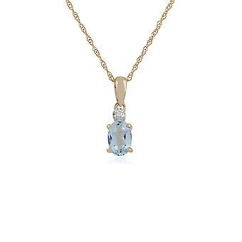 Classic Oval Aquamarine & Diamond Pendant Necklace in 9ct Yellow Gold 135P1644029