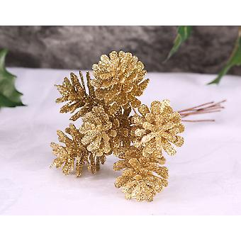 6 Small Gold Glitter Pine Cones on Wire for Floristry Crafts