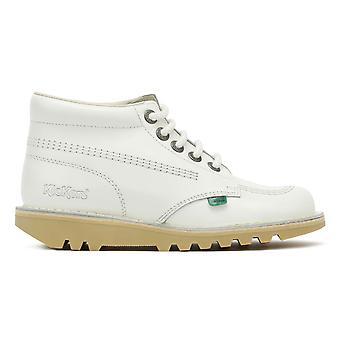 Kickers Womens branco couro Kick Oi botas