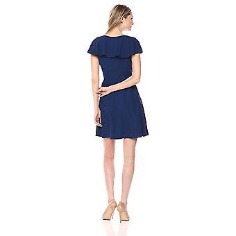 Merkki - Lark & Ro Naiset's Ryppyinen V-kaula Fit ja Flare Dress, Navy, 2