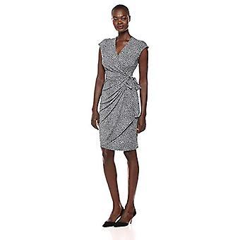Brand - Lark & Ro Women's Classic Cap Sleeve Wrap Dress, Navy/White Pa...