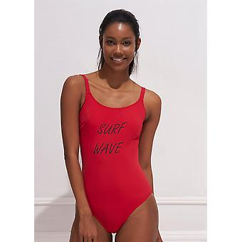 Aqua Perla Womens Isabel SPF50+ Red One Piece Swimwear