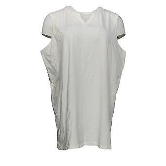 Denim & Co. Women's Top Knit Split V-Neck Sleeveless Tunic White A354173
