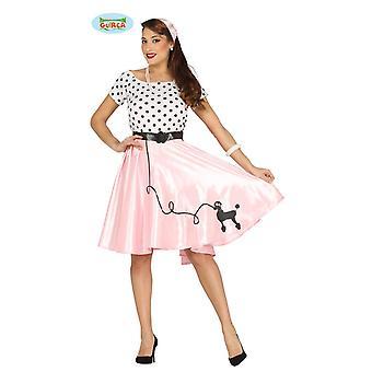 50s signore vestito ragazza roccia barboncino in rotolo in bianco nero rosa