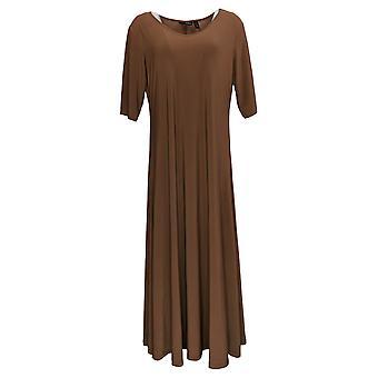 المواقف من قبل رينيه بيتيت اللباس ماكسي الصلبة فستان جوز الهند براون A375422