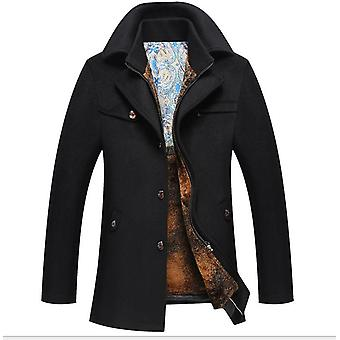 men's Slim Fit Single Breasted Woolen Pea Trench Coat