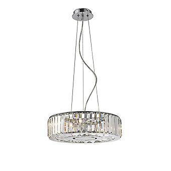 Inspiriert Diyas - Torre - Deckenanhänger 5 Licht poliert Chrom, Kristall