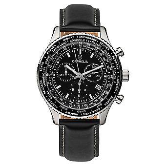 ORPHELIA mannen Chronograph Watch Master zwart leder OR81705