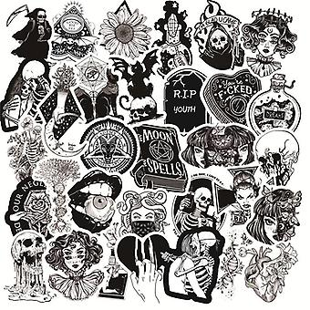 50pcs/pack Gothic Style Horror Thriller Stickers Cool Pegatina For Diy Laptop