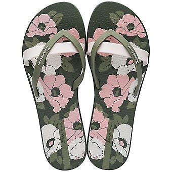 Ipanema Kirei Silk Flower Kvinnors Beach Flip Flops / Sandaler - Khaki