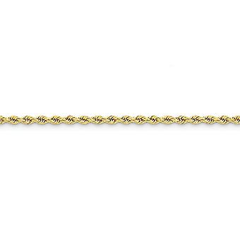 14k Yellow Gold Solid Lobster Claw Closure 3mm Handmade Regular Rope Chain Bracelet Jewelry Gifts for Women - Length: 7