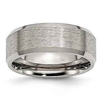 Titanium Engravable Polished and satin Beveled Edge 8mm Satin Polished Band Ring - Ring Size: 7 to 15