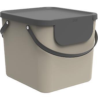 Système de tri des déchets Rotho Albula 40l pour la cuisine, plastique (PP) sans BPA, cappuccino/anthracite, 40l (40.0 x 35.8 x 34.0 cm)