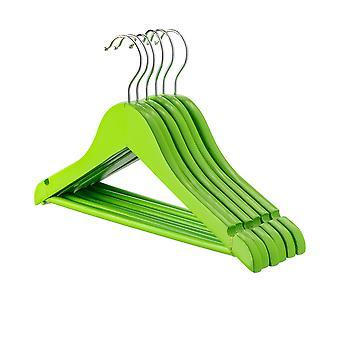 Green Childrens Wooden Clothes / Coat Hanger / Hangers - Pack of 10