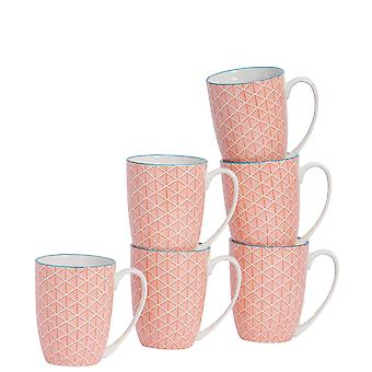 Nicola Spring 6 Piece Geometric Modelé Tea and Coffee Mug Set - Grandes tasses à latte en porcelaine - Corail - 360ml