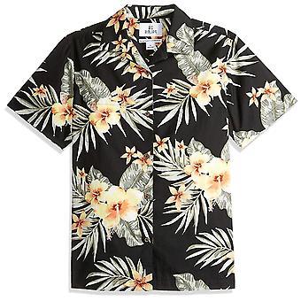 28 Palms Men's Standard-Fit 100% Cotton Tropical Hawaiian Shirt, White/Tan Ba...