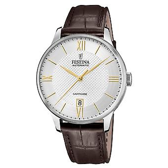 Festina F20484-2 Men's Brown Leather Strap Automatic Wristwatch