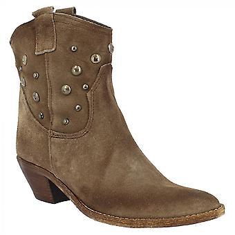 ليوناردو أحذية المرأة & ق اليدوية وأشار أحذية رعاة البقر كعب في جلد الغزال توب مع ترصيع الفضة
