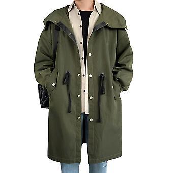 Allthemen Men's Spring Army Green Mid-længde Loose Hooded Jacket