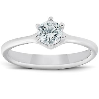 1/2 Ct Diamond Solitaire Engagement Ring 6-Prong 14k White Gold