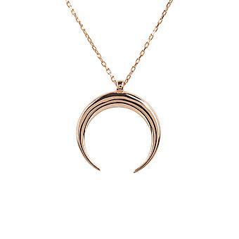 Latelita llano colgante collar colmillo cuerno rosa Simple plata 925 corto rosa oro