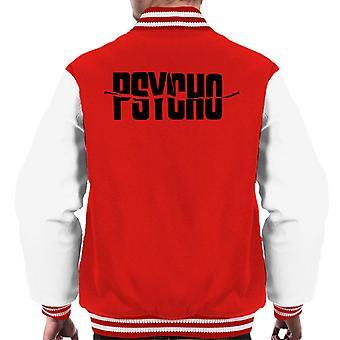 Psycho Black Text Logo Men's Varsity Jacket