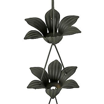 Copper Finish Metal Lily Flower Rain Chain w/Attached Hanger 48 Inch