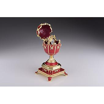 Red Faberge Egg With Clock Inside Trinket Box