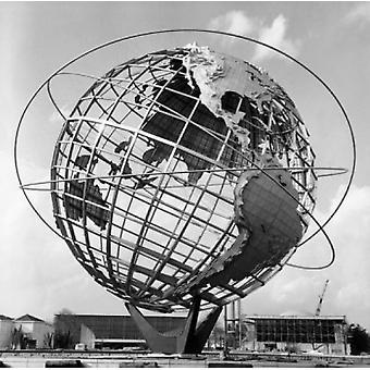 Low angle view of a sculpture of a globe Unisphere 1964 New York Worlds Fair Queens New York City New York USA Poster Print
