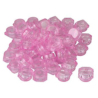 50x Tomme Plastic Kosmetiske Containere 5g Clear Pink Jar til Lip Balm
