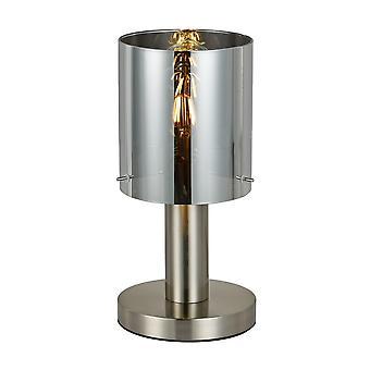 Italux Sardo - Lámpara de mesa moderna satinado níquel 1 luz con sombra ahumada, E27