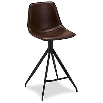 Ibbe Design Isabel Bar Chair Dark Brown Faux Leather - Set of 2, 48x57x98 cm