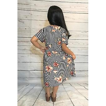 Midi Dress Short Sleeve Round Neck Cinched Waist