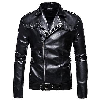 Motorcycle Bomber Leather Jacket, Men Autumn Turn-down Collar Slim Fit, Male