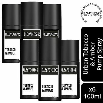 6 Pack Lynx Urban Deodorante Bomba Spray, Tabaco y Ámbar, 100ml
