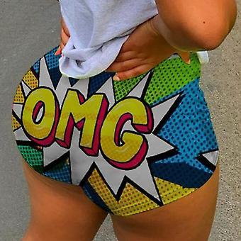 Letní casual high waist krátké kalhoty sportovní venkovní tisk elastické kalhoty