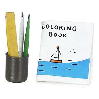Nukkekodin värityskirjat &; Lyijykynä potin miniatyyrikoulun kirjoituspöytä lisävaruste