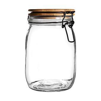 צנצנת אחסון אטומה עם מכסה עץ - מיכל זכוכית עגול בסגנון סקנדינבי - חותם שחור - 1 ליטר