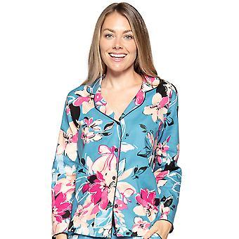 Cyberjammies Hannah 4726 Women's Turquoise Floral Cotton Pyjama Top